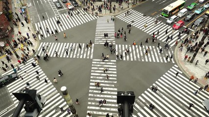Wall Mural - Aerial view of traffic intersection in Ginza, Tokyo, Japan.