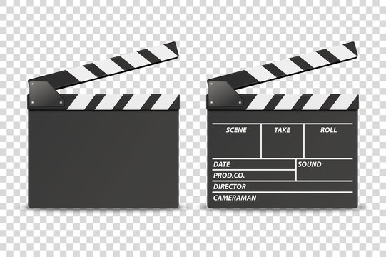 Vector 3d Realistic Opened Movie Film Clap Board Icon Set Closeup Isolated on Transparent Background. Design Template of Clapperboard, Slapstick, Filmmaking Device. Front View