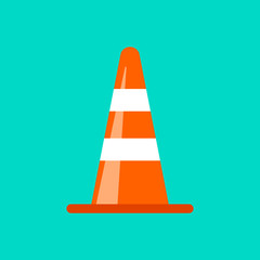 Traffic cone danger attention transportation boundary red control traffic vector icon. Accident hazard maintenance construction