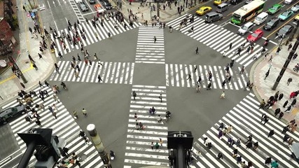 Fototapete - Aerial view of traffic intersection in Ginza, Tokyo, Japan.