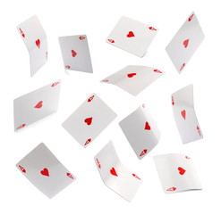 Set flying ace of hearts, playing card, isolated on white background with clipping path
