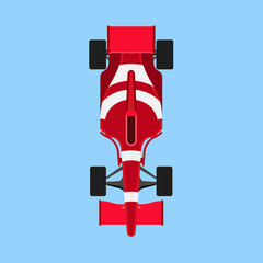 Acrylic Prints F1 Formula 1 race car sport vector icon top view. Speed auto f1 champion red vehicle. Bolide rally prix flat game transport