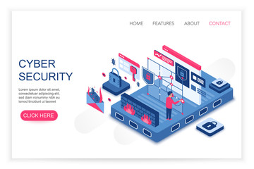 Cyber security, personal cloud data saving, privacy security concept 3d isometric web template vector illustration. People interacting with virtual screen charts and analyzing statistics.
