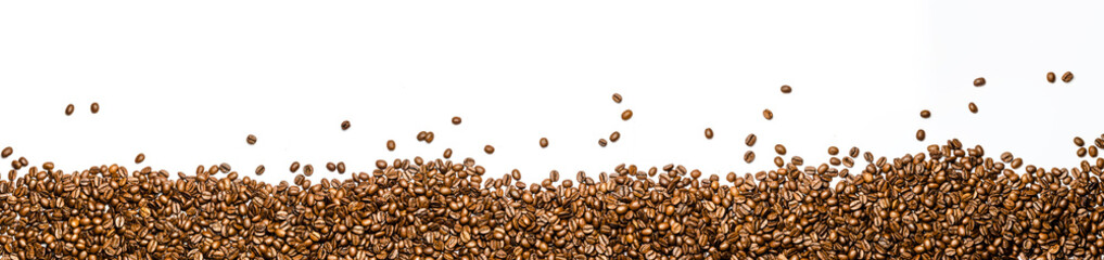 panorama of coffee beans isolated on white background