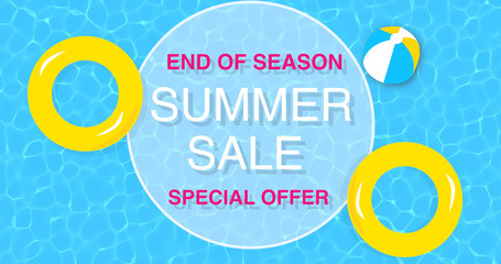 Top view swimming pool background illustration with end of season SUMMER SALE special offer text. Summer sales event theme background
