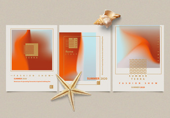 Abstract Minimalist Flyer Layouts with Terracotta Gradients