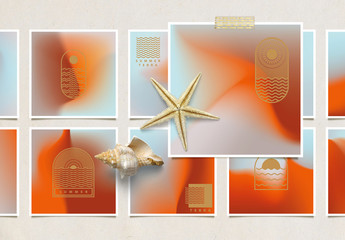 Vibrant Gradient Background Layouts in Copper and Blue with Graphic Logos and Text
