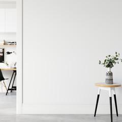 Wall interior mock up . Wall art. Scandinavian interior. 3d rendering, 3d illustration