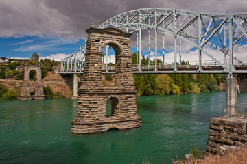 Historical suspension bridge in town of Alexandra in New Zealand