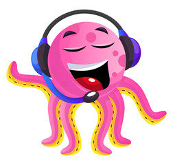 Pink octopus operator illustration vector on white background