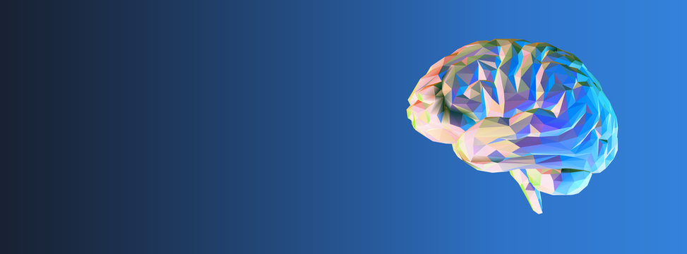 Colorful polygonal brain on dark blue BG