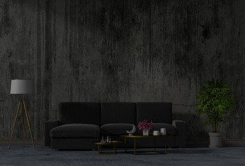 living room concrete wall with black sofa in darkness at night in a home interior. 3d Rendering