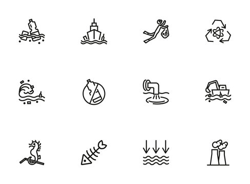 Water pollution icon set. Line icons collection on white background. Litter, sea, plastic. Environment concept. Can be used for topics like problem, danger, conservation
