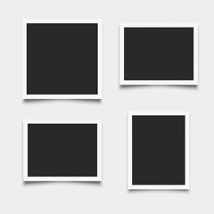 Set of empty photo frames on white background