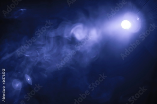 blue color smoke texture , spotlight projector light beam in