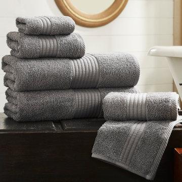 Cotton terry towel set. Dobby border towel set