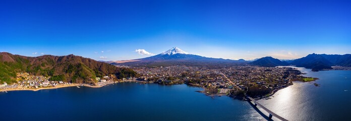 Wall Mural - Panorama of aerial view Fuji mountain and kawaguchiko lake in Japan.