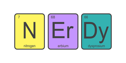 The chemical elements of the periodic table,colorful funny text - nerdy on white