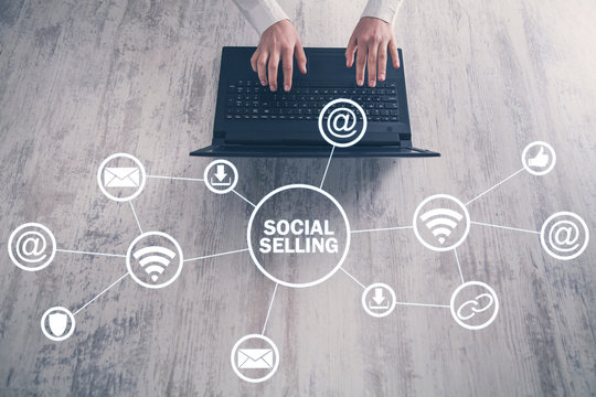 Internet, communication, technology. Concept of social selling