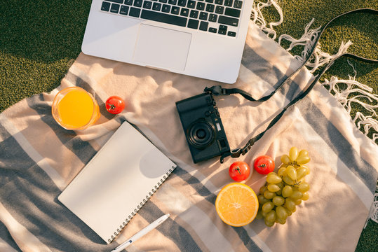 Picnic setting on a outdoor table with fresh fruit, laptop, phone, camera