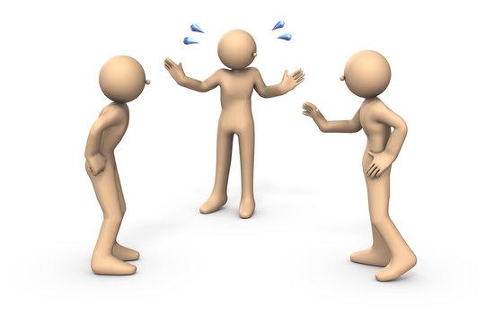 喧嘩する人と仲裁する人を表すアブストラクト