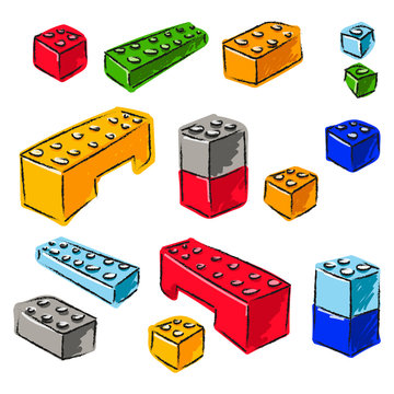 Lego set. Hand drawn elements. Cartoon colored art. Isolated toys.