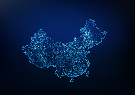 Abstract of china map network, internet and global connection concept, Wire Frame 3D mesh polygonal network line, design sphere, dot and structure. Vector illustration eps 10.