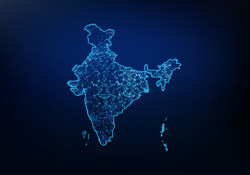 Abstract of india map network, internet and global connection concept, Wire Frame 3D mesh polygonal network line, design sphere, dot and structure. Vector illustration eps 10.