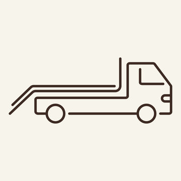 Tow truck line icon