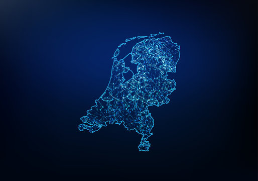 Abstract of netherlands map network, internet and global connection concept, Wire Frame 3D mesh polygonal network line, design sphere, dot and structure. Vector illustration eps 10.