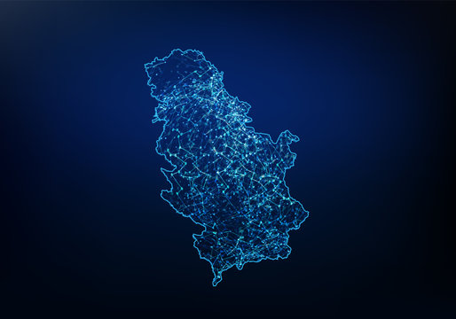 Abstract of Serbia map network, internet and global connection concept, Wire Frame 3D mesh polygonal network line, design sphere, dot and structure. Vector illustration eps 10.