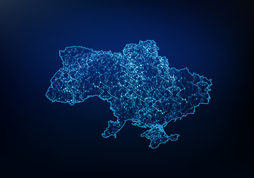 Abstract of ukraine map network, internet and global connection concept, Wire Frame 3D mesh polygonal network line, design sphere, dot and structure. Vector illustration eps 10.