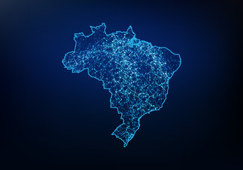 Abstract of brazil map network, internet and global connection concept, Wire Frame 3D mesh polygonal network line, design sphere, dot and structure. Vector illustration eps 10. Fotomurales