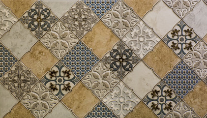 marble kitchen wall tile with abstract mosaic geometric pattern, vintage paper texture