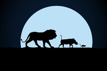 Lion, warthog and woodchuck silhouette on a moon background Fototapete