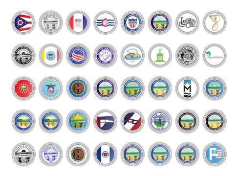 Set of vector icons. Flags and seals of Ohio state, USA. 3D illustration.