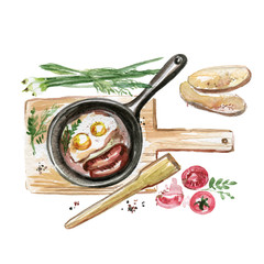 Slats personalizados com sua foto Eggs and Sausages in a Frying Pan. Hand Painted Food in Watercolor. Illustration of Breakfast Isolated on White Background