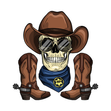 Hand drawn sketch, color skull with cowboy hat, sheriffs badge, neck scarf, cowboy boots and sunglasses