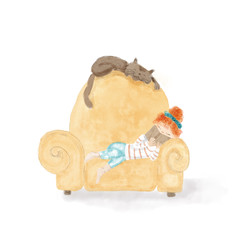 Girl child reading a book on the sofa with her cute cat - Hand painted watercolor illustration isolated on white background