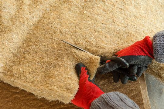 materials background - compressed thermal insulating hemp fiber bonded panels