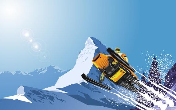 Snowmobile on the snow mountain