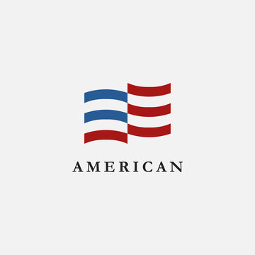 Abstract Simple United States of America flag, USA flag, American Flag Logo icon vector on white background