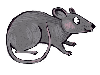cute little mouse illustration - paint on a tablet