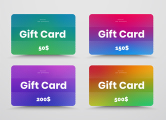 Wall Mural - Set of vector gift or discount cards with color soft gradients and diagonal white lines.