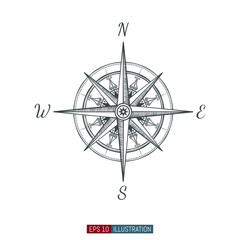 Hand drawn compass. Template for your design works. Engraved style vector illustration.