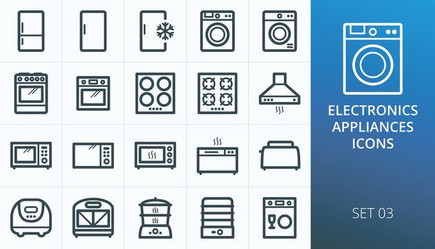 Household appliances and electronics icons set. Set of refrigerator, freezer, washing machine, cooker oven, electric hob, gas stove, microwave oven, bread maker, toaster, slow cooker icons