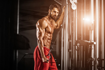 Handsome Bodybuilder exercise at  the gym
