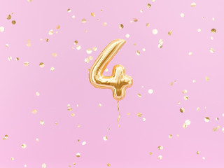 Fototapeta Four year birthday. Number 4 flying foil balloon on pink. Four-year anniversary gold confetti background. 3d rendering obraz