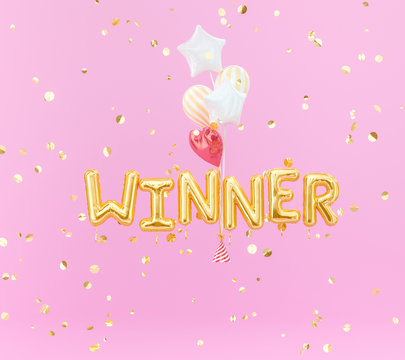 Winner sign letters with golden confetti and balloons. Banner word winner design pink background. 3d rendering