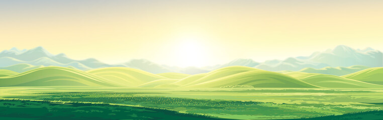 Fotobehang Beige Mountain landscape with a dawn, an elongated format for the convenience of using it as a background.